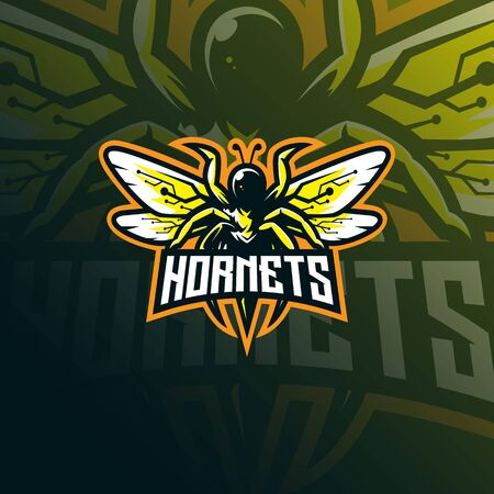 hornets mascot logo design vector with modern illustration concept style for badge, emblem and tshirt printing. angry hornets illustration for sport team.
