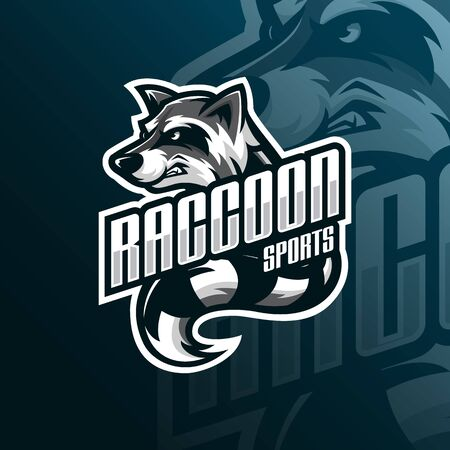 raccoon mascot logo design vector with modern illustration concept style for badge, emblem and tshirt printing. angry raccoon illustration for sport team. Stockfoto - 134534387