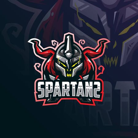 spartan mascot logo design vector with modern illustration concept style for badge, emblem and tshirt printing. angry head spartans illustration. Stockfoto - 134534389