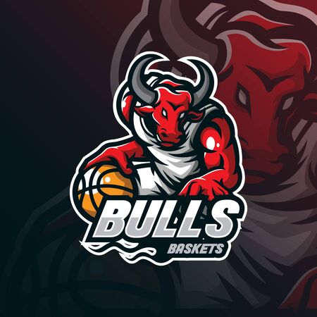 bull mascot logo design vector with modern illustration concept style for badge, emblem and tshirt printing. bull illustration with basketball in hand.