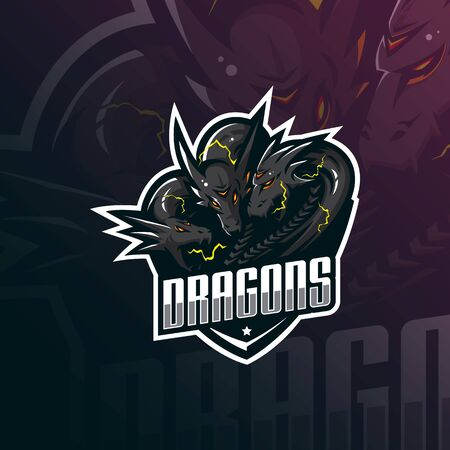 dragon mascot logo design vector with modern illustration concept style for badge, emblem and tshirt printing. angry dragon illustration for sport team. Stockfoto - 134534391