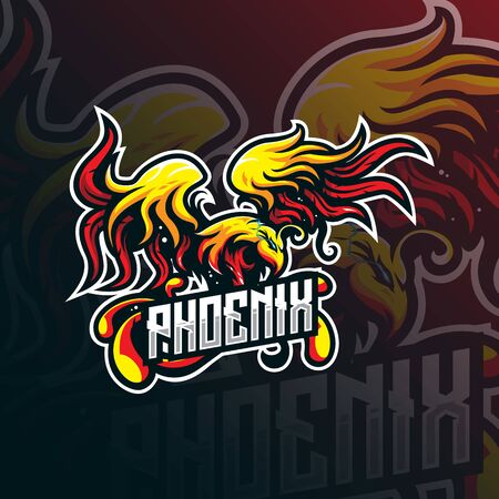 phoenix mascot logo design vector with modern illustration concept style for badge, emblem and tshirt printing. bird phoenix illustration for sport team.