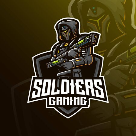 soldier mascot logo design vector with modern illustration concept style for badge, emblem and tshirt printing. robotic soldier illustration for sport and esport team.