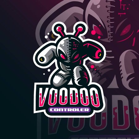 voodoo mascot logo design vector with modern illustration concept style for badge, emblem and tshirt printing. angry voodoo illustration.