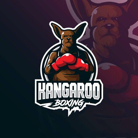 kangaroo mascot logo design vector with modern illustration concept style for badge, emblem and tshirt printing. angry kangaroo illustration. Stockfoto - 134534400