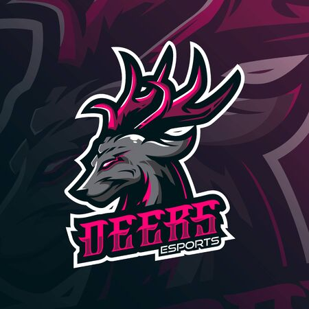 deer mascot logo design vector with modern illustration concept style for badge, emblem and tshirt printing. angry deer illustration for sport and esport team.