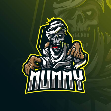 mummy mascot logo design vector with modern illustration concept style for badge, emblem and tshirt printing. angry mummy illustration.