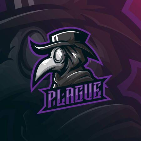 plague doctor mascot logo design vector with modern illustration concept style for badge, emblem and tshirt printing. doctor plague illustration. Stock Illustratie