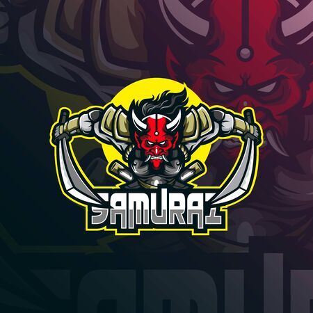 samurai mascot logo design vector with modern illustration concept style for badge, emblem and tshirt printing. angry samurai illustration. Stockfoto - 134534409