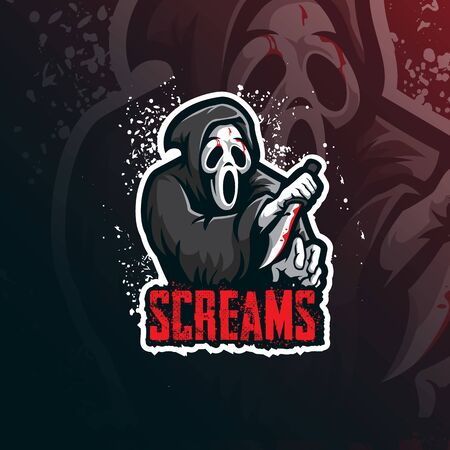 scream mascot logo design vector with modern illustration concept style for badge, emblem and tshirt printing. scream illustration with a knife.