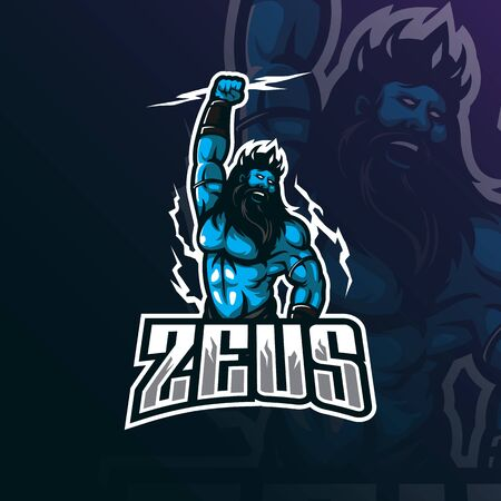 zeus mascot logo design vector with modern illustration concept style for badge, emblem and tshirt printing. angry zeus illustration.