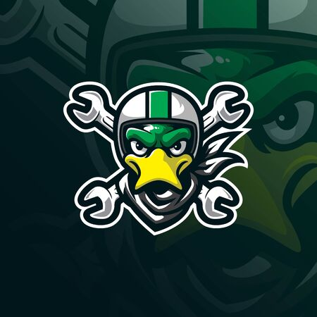 duck mascot logo design vector with modern illustration concept style for badge, emblem and tshirt printing. duck head illustration with helmet.