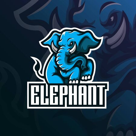 elephant mascot logo design vector with modern illustration concept style for badge, emblem and tshirt printing. angry elephant illustration with feet up. Ilustracja