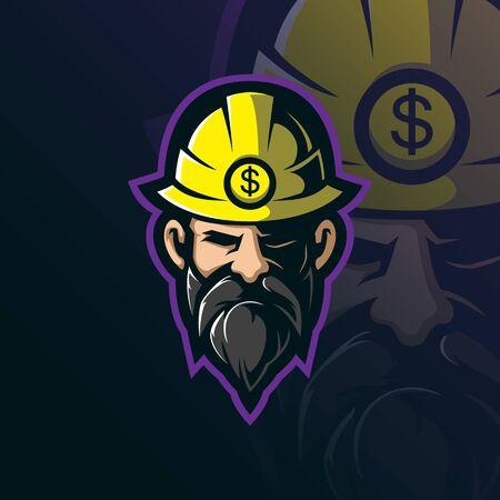 miner mascot logo design vector with modern illustration concept style for badge, emblem and tshirt printing. miner head illustration.