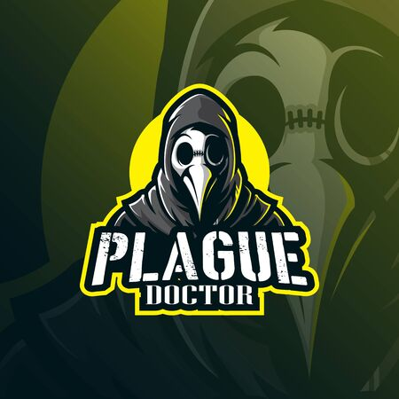 plague doctor mascot logo design vector with modern illustration concept style for badge, emblem and tshirt printing. doctor plague illustration for sport team. Stockfoto - 134534456