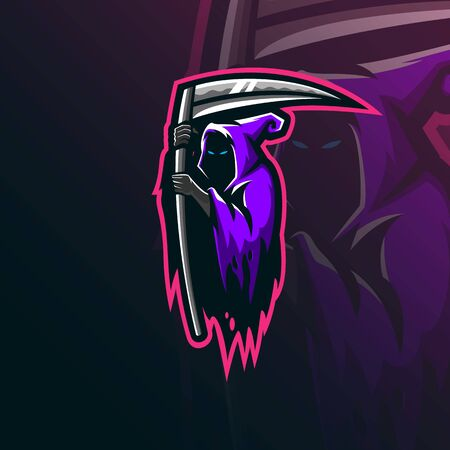 reaper sniper mascot logo design vector with modern illustration concept style for badge, emblem and tshirt printing. angry reaper illustration for sport team. Stockfoto - 134534457
