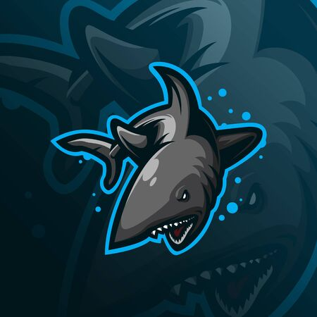 shark sniper mascot logo design vector with modern illustration concept style for badge, emblem and tshirt printing. angry shark illustration.