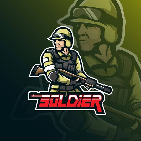 soldier sniper mascot logo design vector with modern illustration concept style for badge, emblem and tshirt printing. sniper soldier illustration. Stockfoto - 134534459