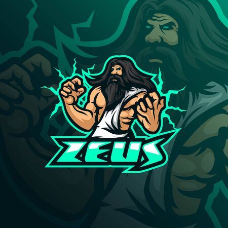 zeus mascot logo design vector with modern illustration concept style for badge, emblem and tshirt printing. angry zeus illustration for sport team. Stockfoto - 134534461