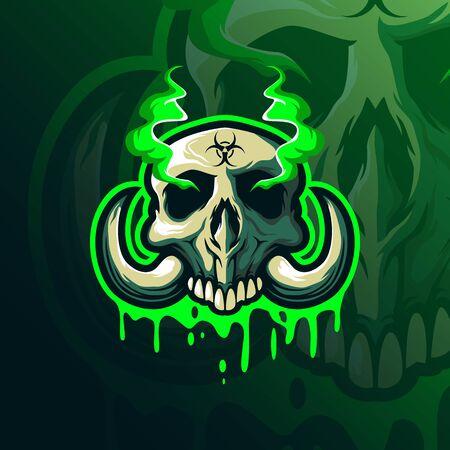 Skull toxic head mascot  design Illusztráció