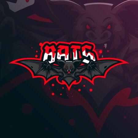 bat mascot logo design vector with modern illustration concept style for badge, emblem and tshirt printing. flying bat illustration.