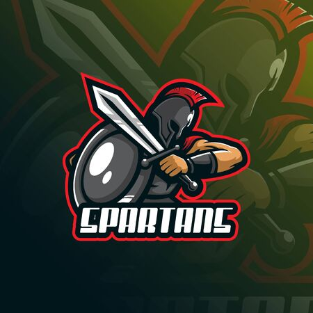 spartan mascot design vector with modern illustration concept style for badge, emblem and tshirt printing. angry spartan illustration for sport team. Archivio Fotografico - 139099695