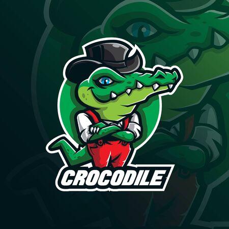 vector de diseño de logotipo de mascota de cocodrilo con estilo de concepto de ilustración moderna para impresión de insignias, emblemas y camisetas. Ilustración de cocodrilo inteligente. Logos