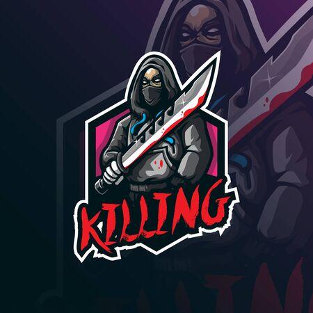 killing mascot logo design vector with modern illustration concept style for badge, emblem and tshirt printing. angry killing illustration.