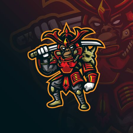 samurai mascot logo design vector with modern illustration concept style for badge, emblem and tshirt printing. mongky samurai illustration.