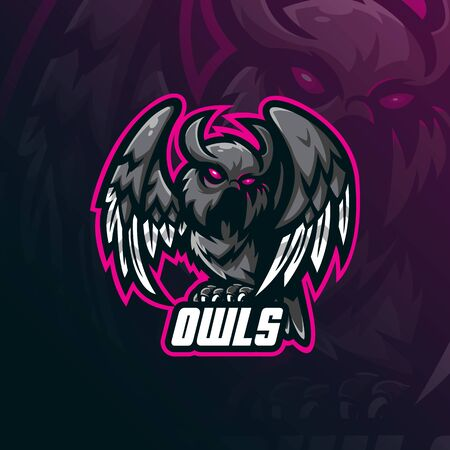 owl mascot logo design vector with modern illustration concept style for badge, emblem and tshirt printing. owl  illustration for sport team.