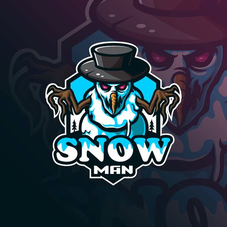 snowman mascot logo design vector with modern illustration concept style for badge, emblem and tshirt printing. angry snowman  illustration for sport and esport team.