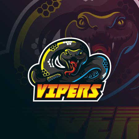 vipers mascot logo design vector with modern illustration concept style for badge, emblem and tshirt printing. angry vipers illustration for sport team.  イラスト・ベクター素材