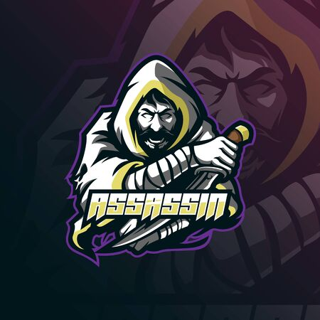 assassin mascot logo design vector with modern illustration concept style for badge, emblem and tshirt printing. assassin illustration with sword in hand.  イラスト・ベクター素材