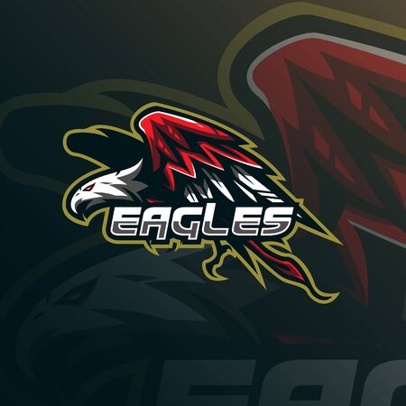 eagle mascot logo design vector with modern illustration concept style for badge, emblem and tshirt printing. angry eagle illustration.