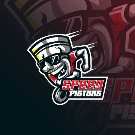 piston mascot logo design vector with modern illustration concept style for badge, emblem and tshirt printing.