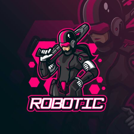 robotic mascot logo design vector with modern illustration concept style for badge, emblem and tshirt printing. women robotic illustration with guns.