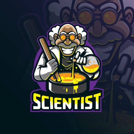 scientist mascot logo design vector with modern illustration concept style for badge, emblem and tshirt printing.  イラスト・ベクター素材