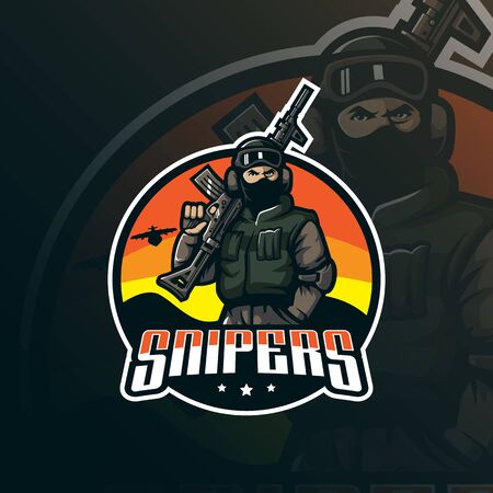 snipers mascot logo design vector with modern illustration concept style for badge, emblem and tshirt printing. snipers illustration with guns in hand.  イラスト・ベクター素材