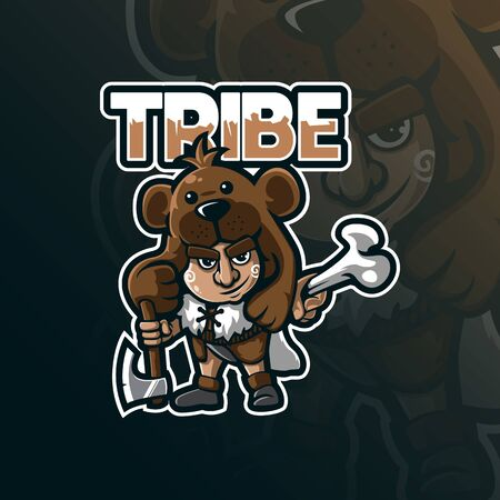 tribe mascot logo design vector with modern illustration concept style for badge, emblem and tshirt printing. little tribe illustration.