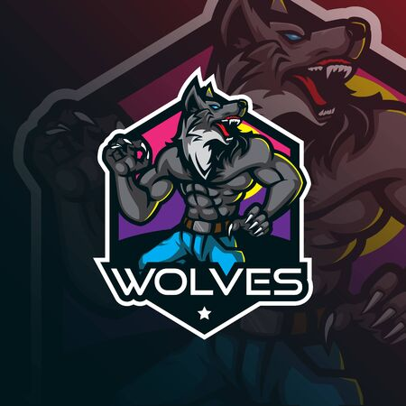 wolf mascot logo design vector with modern illustration concept style for badge, emblem and tshirt printing. angry wolf illustration.