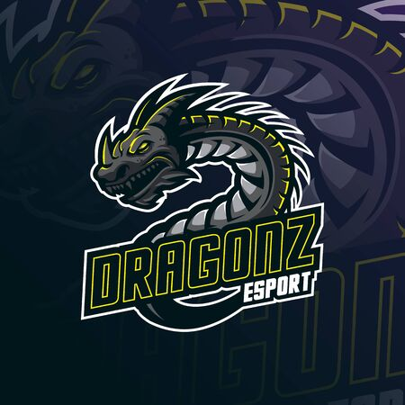 dragon mascot logo design vector with modern illustration concept style for badge, emblem and tshirt printing. angry dragon illustration for esport team.  イラスト・ベクター素材