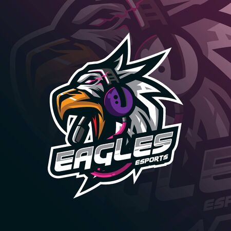 eagle mascot logo design vector with modern illustration concept style for badge, emblem and tshirt printing. eagle head illustration for sport and esport team.