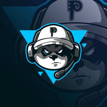 gamers mascot logo design vector with modern illustration concept style for badge, emblem and tshirt printing. panda head illustration for sport and esport team.