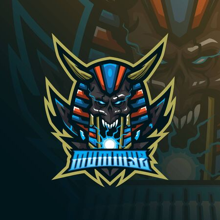 mummy mascot logo design vector with modern illustration concept style for badge, emblem and tshirt printing. skull mummy illustration.  イラスト・ベクター素材