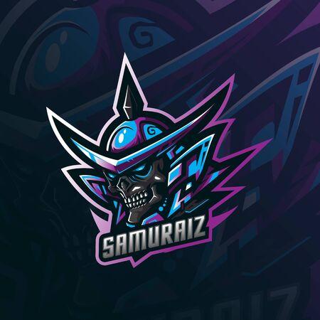samurai mascot logo design vector with modern illustration concept style for badge, emblem and tshirt printing. skull samurai illustration for sport team.  イラスト・ベクター素材