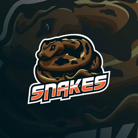 snake mascot logo design vector with modern illustration concept style for badge, emblem and tshirt printing. angry snake illustration.  イラスト・ベクター素材