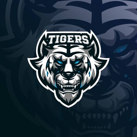 tiger mascot logo design vector with modern illustration concept style for badge, emblem and tshirt printing. tiger head illustration for sport team.  イラスト・ベクター素材