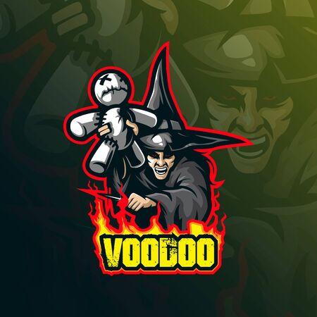 voodoo mascot logo design vector with modern illustration concept style for badge, emblem and tshirt printing. voodoo illustration for sport team.