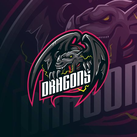 dragon mascot logo design vector with modern illustration concept style for badge, emblem and tshirt printing. angry dragon illustration for sport and esport team.  イラスト・ベクター素材