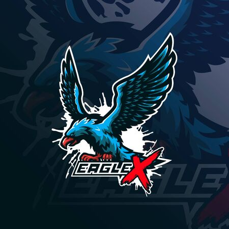 eagle mascot logo design vector with modern illustration concept style for badge, emblem and tshirt printing. angry eagle illustration for sport and esport team.  イラスト・ベクター素材